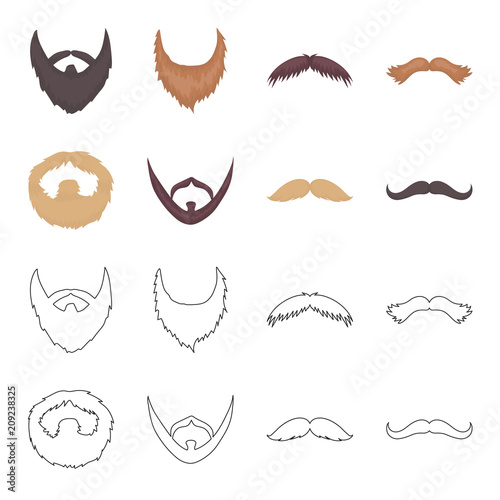 Fotografía  Mustache and beard, hairstyles cartoon,outline icons in set collection for design