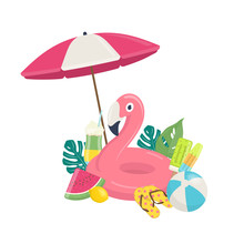 Summer Beach Template With Pink Flamingo Inflatable Pool Float, Exotic Leaves,and Beach Accessories. Summer Beach Vacations Concept. Vector Illustration On White Background