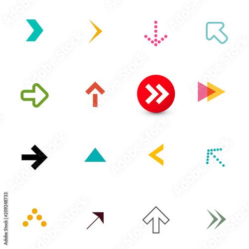Fototapeta Arrow. Colorful Flat Arrows Icons Set for App Isolated on White Background. Vector Navigation Items Design. obraz na płótnie