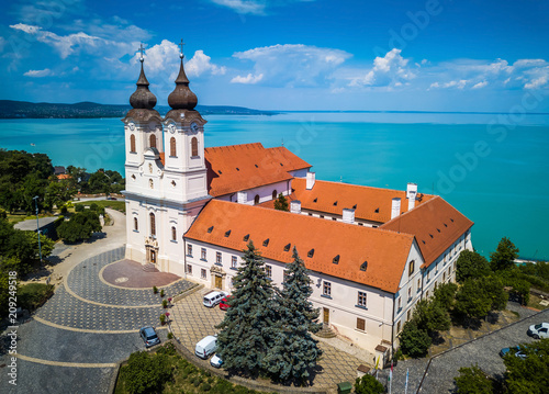 Tihany, Hungary - Aerial view of the famous Benedictine Monastery of Tihany (Tih Wallpaper Mural