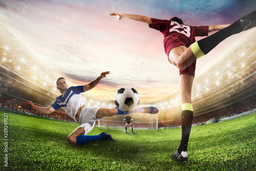Soccer striker hits the ball with an acrobatic kick. 3D Rendering
