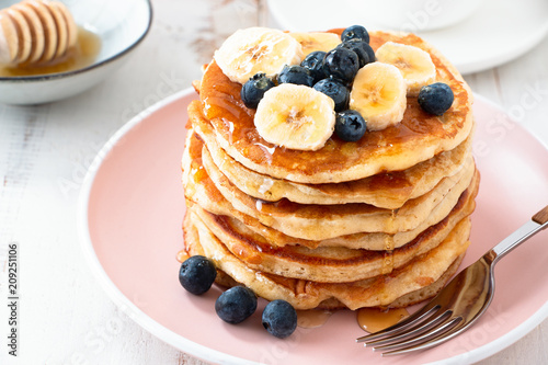 Homemade pancakes with blackberries and banana