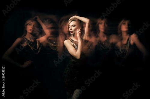 Photo fashion portrait of blondie lady in dark dress with six translucent clone