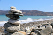 Pebble stack by the ocean Crete
