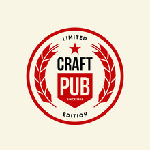 Modern Craft Beer Drink Vector Logo Sign For Bar, Pub, Brewhouse Or Brewery Isolated On Light Background.