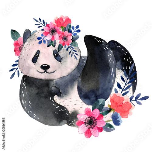 Fototapeta premium Akwarela panda z kwiatami na białym tle na białym tle. Akwarela ilustracja.