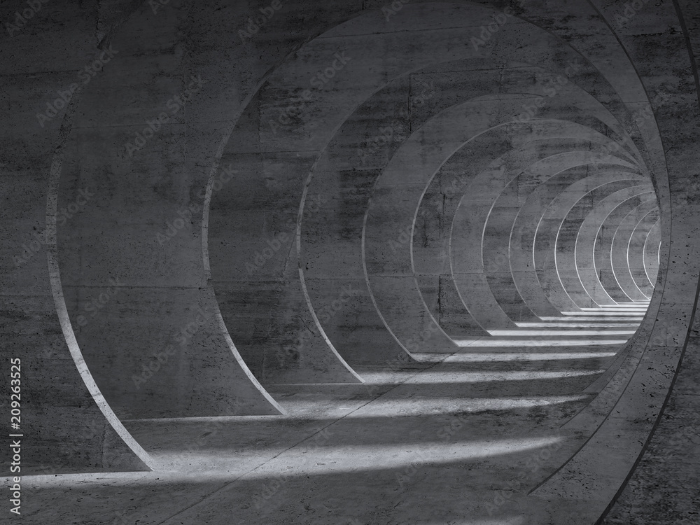 Fototapeta Concrete tunnel interior with perspective effect