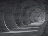 Fototapeta Do przedpokoju - Concrete tunnel interior with perspective effect