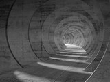 Fototapeta Perspektywa 3d - Abstract concrete tunnel interior, perspective view