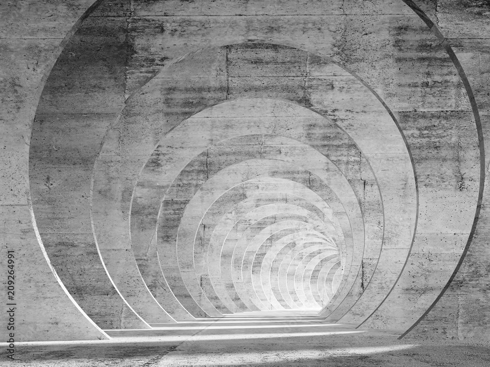 Fototapeta Abstract empty concrete tunnel interior with perspective