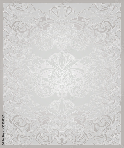 vintage vertical background in pearl white with gold with classic baroque pattern rococo with darkened edges wedding background card invitation banner buy this stock vector and explore similar vectors at adobe stock adobe stock