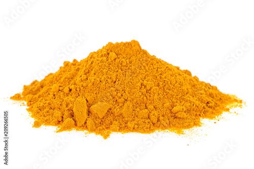 Curcuma powder isolated on white background