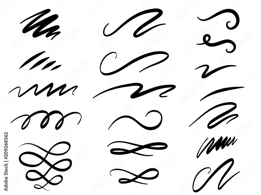 Fototapety, obrazy: Set of hand drawn lettering and calligraphy swirls, squiggles. Vector ink decorations for composition