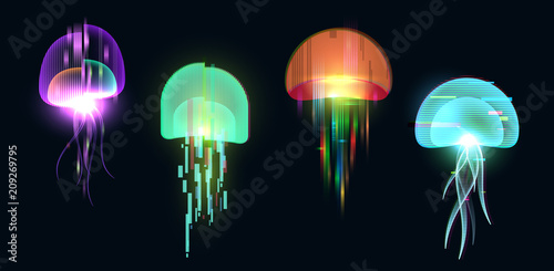Valokuvatapetti Futuristic digital vector 3d hologram jellyfish on black background