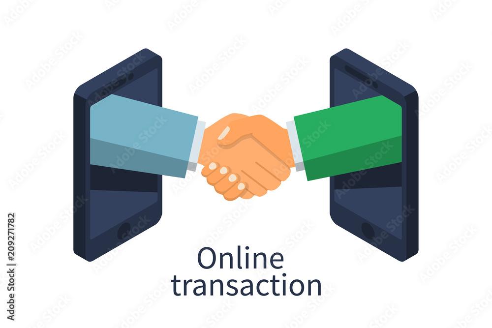 Fototapeta Online transaction concept. Handshake business icon. Partnership, meeting businessman. Vector illustration flat design 3d isometric. Isolated on white background.