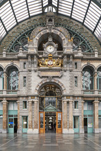 Antwerp, Belgium. The Central Train Station Of Antwerp, Built In The Eclectic Style By Architects .Louis Delacenserie And Charles Poupaert Which Opened In This Form In 1905.