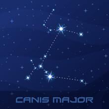 Constellation Canis Major, Great Dog, Night Star Sky