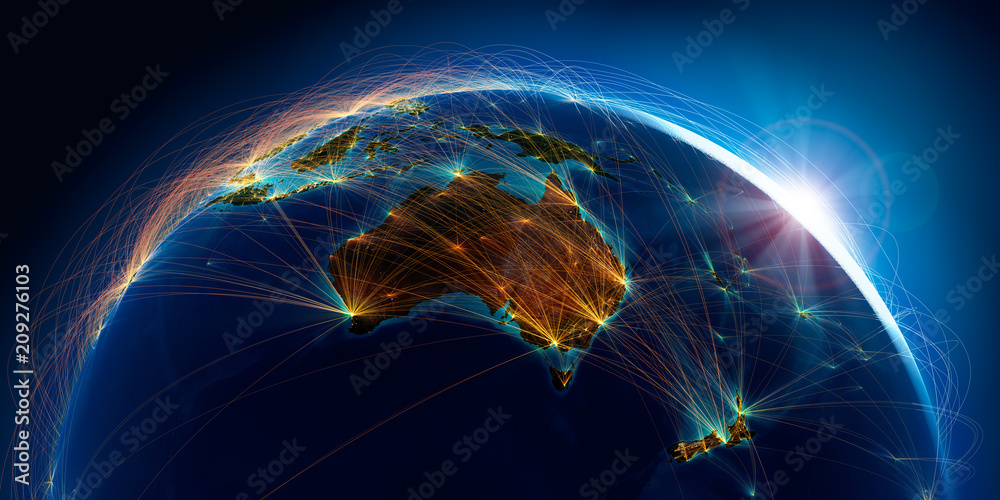 Fototapeta Planet Earth with detailed relief is covered with a complex luminous network of air routes based on real data. Australia and New Zealand. 3D rendering. Elements of this image furnished by NASA
