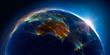 canvas print picture Planet Earth with detailed relief is covered with a complex luminous network of air routes based on real data. Australia and New Zealand. 3D rendering. Elements of this image furnished by NASA