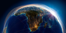 Planet Earth With Detailed Relief Is Covered With A Complex Luminous Network Of Air Routes Based On Real Data. South Africa And Madagascar. 3D Rendering. Elements Of This Image Furnished By NASA