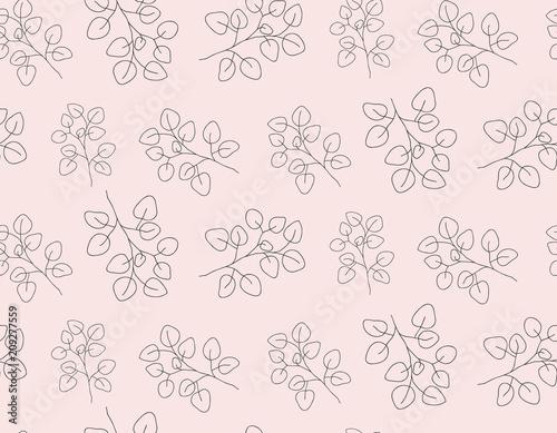 Hand Drawn Contour Eucalyptus Leaves Minimalist Seamless
