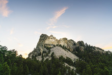 Mount Rushmore Natonal Memorial  At Sunset.