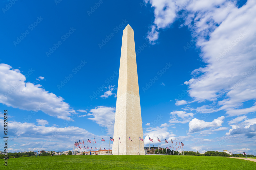 Fototapety, obrazy: washington dc,Washington monument on sunny day with blue sky background.
