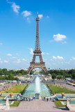 Fototapeta  - Eiffel Tower and Trocadero fountains, Paris, France