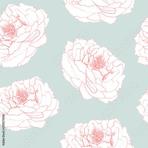 Stoffe zum Nähen Nahtlose handgemalte florales Muster für Textilien, Stoff, Papier, Tapete. Pfingstrose Blumen auf blauem Hintergrund.