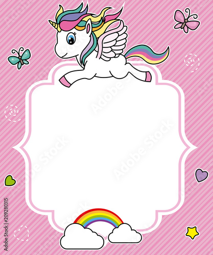 cute unicorn card. Frame with space for text - Buy this stock vector ...