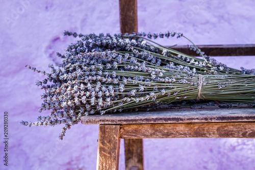 Bundle of Dry Lavender on Authentic Vintage Brown Table