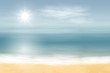 Beach and tropical sea with bright sun. Pastel colors. Travel concept. EPS10 vector.
