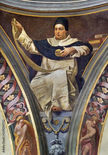 Fotografiet  REGGIO EMILIA, ITALY - APRIL 12, 2018: The Fresco of Saint Thomas of Aquinas in cupola of church Basilica di San Prospero by  C