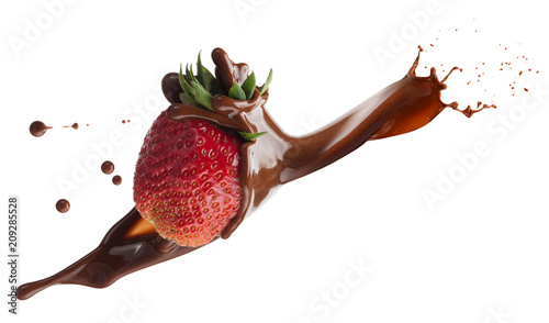 strawberry in chocolate splash isolated on a white background
