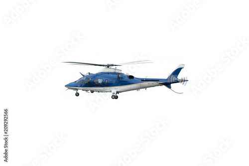 Spoed Foto op Canvas Helicopter White and blue helicopter in flight, isolated on white