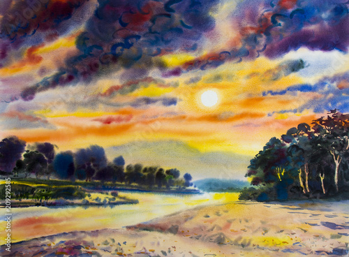 Printed kitchen splashbacks Eggplant Painting colorful of river mountain and in sun evening