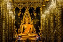 "PHITSANULOK, THAILAND - May 14, 2018:""Phra Buddhachinaraj"" Buddha Statue In Wat Phra Sri Rattana Mahathat Temple, Amphoe Mueang Phitsanulok, Phitsanulok, Thailand"