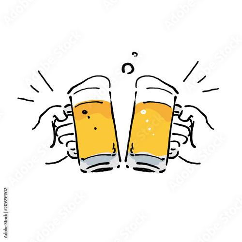 Photo ビール イラスト 乾杯