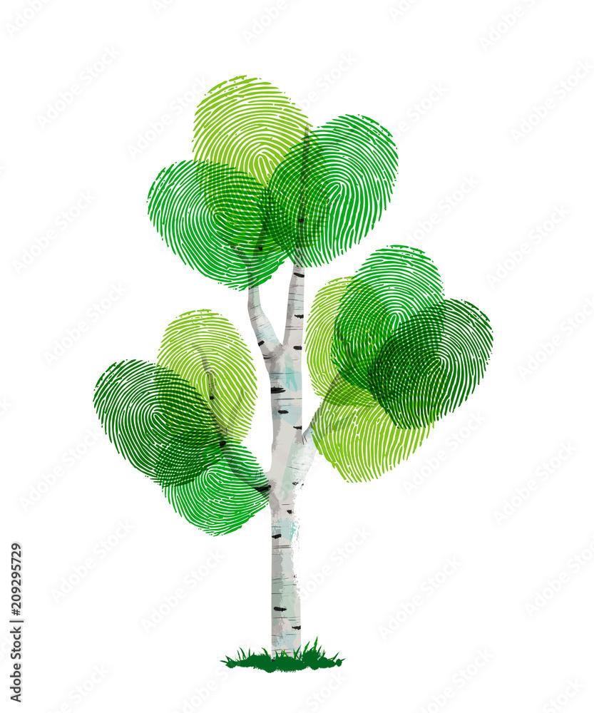 Fototapeta Green finger print tree for nature help
