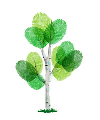 Green finger print tree for nature help