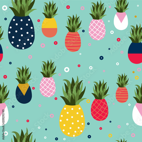 Leinwand Poster  Pineapple fruit retro background pattern art