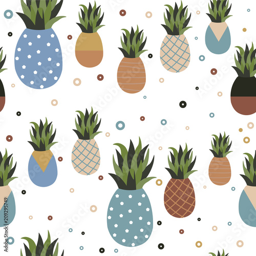 Leinwand Poster  Retro pineapple fruit seamless pattern background