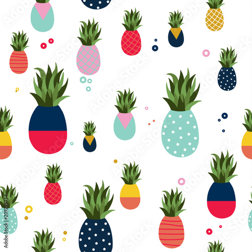 Leinwand Poster  Pineapple fruit fun color pattern background