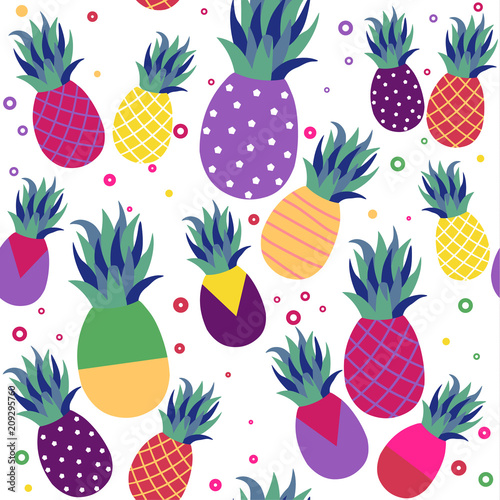 Foto  Pineapple fruit fun color pattern background