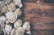 Border Of Dry White Roses On O...
