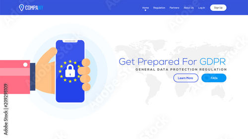 Obraz Landing page with illustration of human hand holading smartphone for GDPR concept. - fototapety do salonu