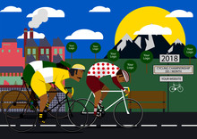 Cycling Poster Design Template Vector Illustration. Poster On Bicycle Competitions. People Ride A Bicycle.