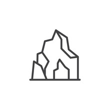 Cave In Mountain Outline Icon. Linear Style Sign For Mobile Concept And Web Design. Prehistoric Cave Home Simple Line Vector Icon. Symbol, Logo Illustration. Pixel Perfect Vector Graphics