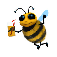 Vector 3d Funny Cartoon Honey Bee Character Drinking Juice From A Glass