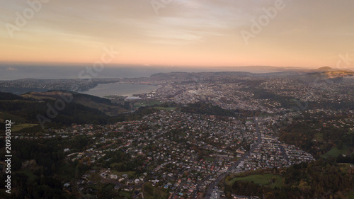Poster Oceanië Dunedin City Sunrise view from Drone